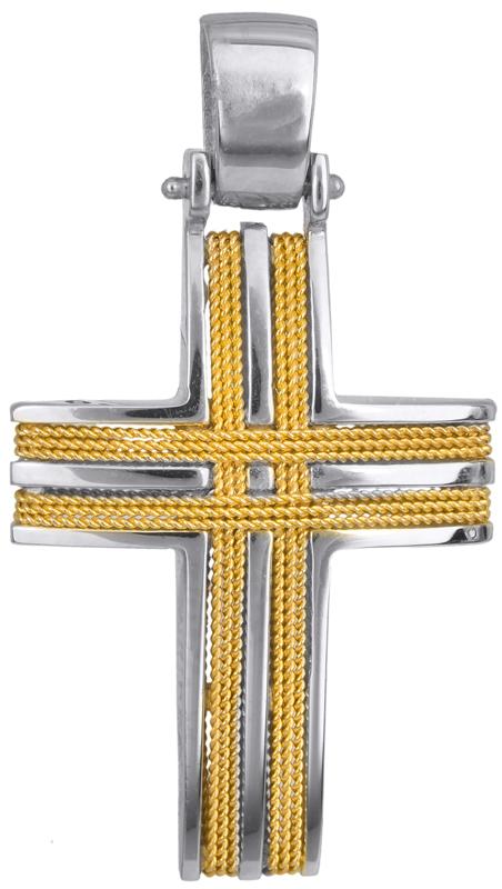 Σταυροί Βάπτισης - Αρραβώνα Ανδρικός δίχρωμος σταυρός Κ14 016523 016523 Ανδρικό Χρυσός 14 Καράτια