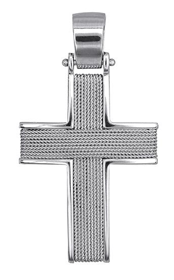 Σταυροί Βάπτισης - Αρραβώνα Συρματερός Λευκόχρυσος Σταυρός 016525 Ανδρικό Χρυσός 14 Καράτια