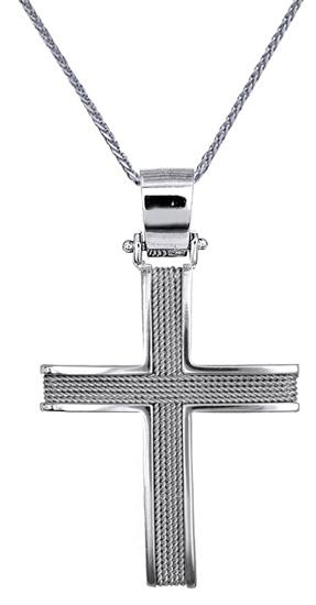 Βαπτιστικοί Σταυροί με Αλυσίδα Λευκόχρυσοι ανδρικοί Σταυροί με Αλυσίδα C016528 016528C Ανδρικό Χρυσός 14 Καράτια
