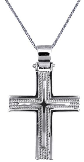 Βαπτιστικοί Σταυροί με Αλυσίδα ΑΝΔΡΙΚΟΙ ΣΤΑΥΡΟΙ ΣΕ ΛΕΥΚΟΧΡΥΣΟ C016546 016546C Αν σταυροί βάπτισης   γάμου βαπτιστικοί σταυροί με αλυσίδα