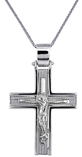 Βαπτιστικοί Σταυροί με Αλυσίδα ΛΕΥΚΟΧΡΥΣΟΙ ΣΤΑΥΡΟΙ ΑΝΔΡΙΚΟΙ C016549 016549C Ανδρ σταυροί βάπτισης   γάμου βαπτιστικοί σταυροί με αλυσίδα