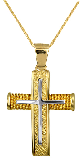 Βαπτιστικοί Σταυροί με Αλυσίδα ΧΡΥΣΟΣ ΣΤΑΥΡΟΣ ΒΑΠΤΙΣΗΣ ΓΙΑ ΑΓΟΡΙ C016551 016551C σταυροί βάπτισης   γάμου βαπτιστικοί σταυροί με αλυσίδα