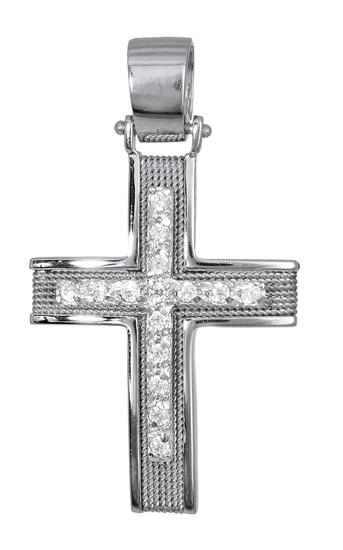 Σταυροί Βάπτισης - Αρραβώνα Λευκόχρυσοι Γυναικείοι Σταυροί 016568 016568 Γυναικείο Χρυσός 14 Καράτια