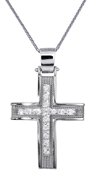 Βαπτιστικοί Σταυροί με Αλυσίδα ΓΥΝΑΙΚΕΙΟΙ ΣΤΑΥΡΟΙ ΛΕΥΚΟΧΡΥΣΟΙ ΜΕ ΑΛΥΣΙΔΑ C016568 016568C Γυναικείο Χρυσός 14 Καράτια