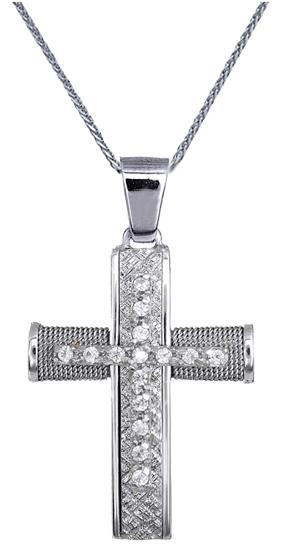 Βαπτιστικοί Σταυροί με Αλυσίδα ΓΥΝΑΙΚΕΙΟΙ ΣΤΑΥΡΟΙ ΜΕ ΖΙΡΓΚΟΝ C016574 016574C Γυναικείο Χρυσός 14 Καράτια