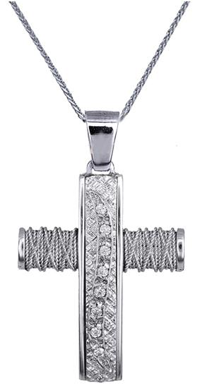 Βαπτιστικοί Σταυροί με Αλυσίδα ΛΕΥΚΟΧΡΥΣΟΣ ΣΤΑΥΡΟΣ C016580 016580C Γυναικείο Χρυ σταυροί βάπτισης   γάμου βαπτιστικοί σταυροί με αλυσίδα