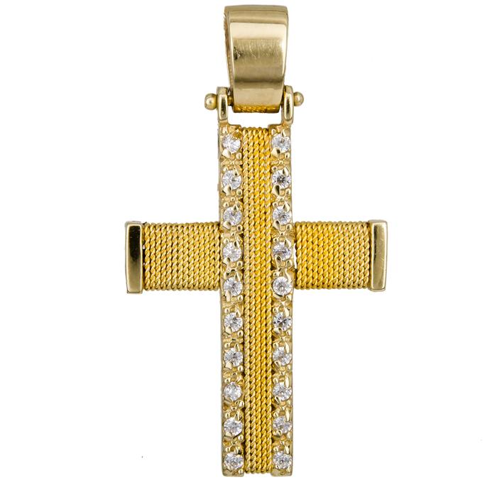 Σταυροί Βάπτισης - Αρραβώνα Βαπτιστικός σταυρός Κ14 016582 016582 Γυναικείο Χρυσός 14 Καράτια