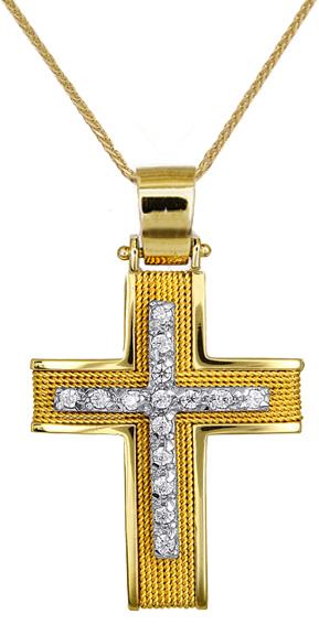 Βαπτιστικοί Σταυροί με Αλυσίδα ΧΕΙΡΟΠΟΙΗΤΟΙ ΧΡΥΣΟΙ ΣΤΑΥΡΟΙ C016585 016585C Γυναικείο Χρυσός 14 Καράτια
