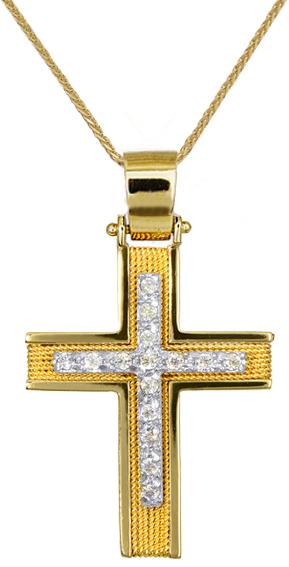 Βαπτιστικοί Σταυροί με Αλυσίδα ΓΥΝΑΙΚΕΙΟΙ ΣΤΑΥΡΟΙ C016588 016588C Γυναικείο Χρυσός 14 Καράτια