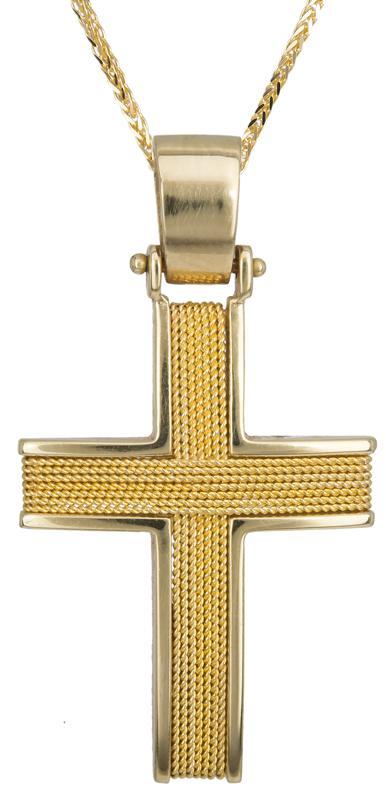 Βαπτιστικοί Σταυροί με Αλυσίδα Ανδρικός Σταυρός C016591 016591C Ανδρικό Χρυσός 14 Καράτια