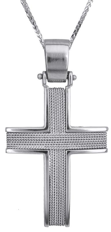 Βαπτιστικοί Σταυροί με Αλυσίδα Λευκόχρυσοι Ανδρικοί Σταυροί C016592 016592C Ανδρ σταυροί βάπτισης   γάμου βαπτιστικοί σταυροί με αλυσίδα