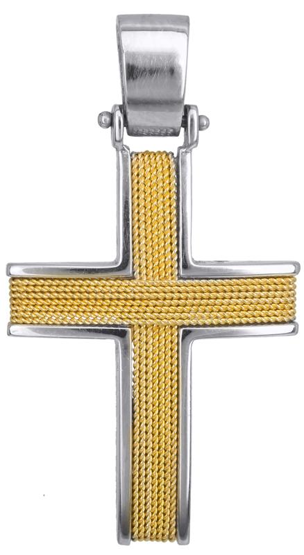 Σταυροί Βάπτισης - Αρραβώνα Δίχρωμος σταυρός βάπτισης Κ14 016593 016593 Ανδρικό Χρυσός 14 Καράτια
