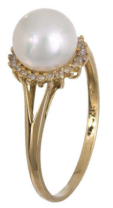 Δαχτυλίδι με μαργαριτάρι και μπριγιάν 016597 016597 Χρυσός 18 Καράτια