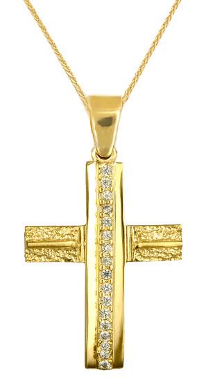 Βαπτιστικοί Σταυροί με Αλυσίδα ΧΡΥΣΑ ΑΥΘΕΝΤΙΚΑ ΚΟΣΜΗΜΑΤΑ ΜΕ ΕΓΓΥΗΣΗ C016615 0166 σταυροί βάπτισης   γάμου βαπτιστικοί σταυροί με αλυσίδα