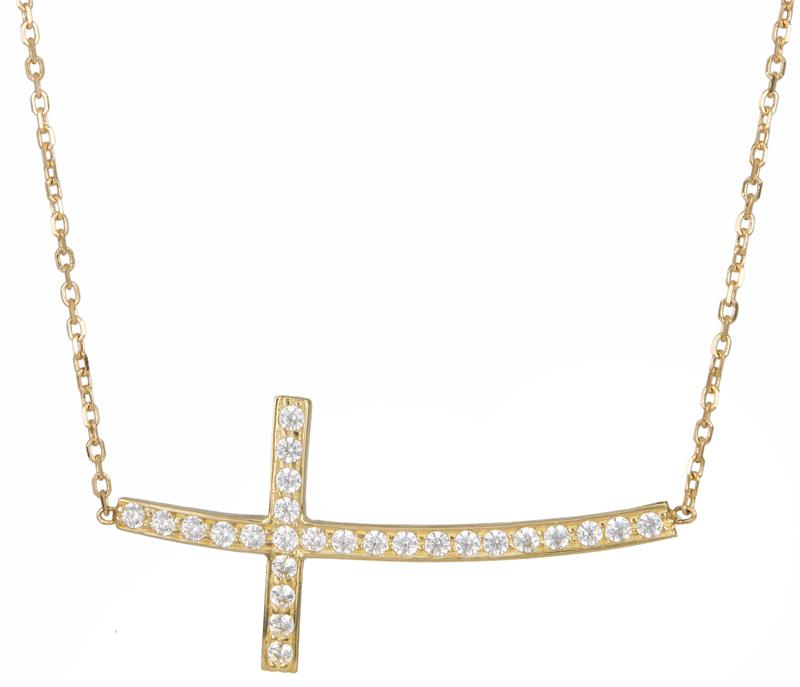 Χρυσό κολιέ σταυρός με ζιργκόν Κ14 016661 016661 Χρυσός 14 Καράτια χρυσά κοσμήματα κολιέ