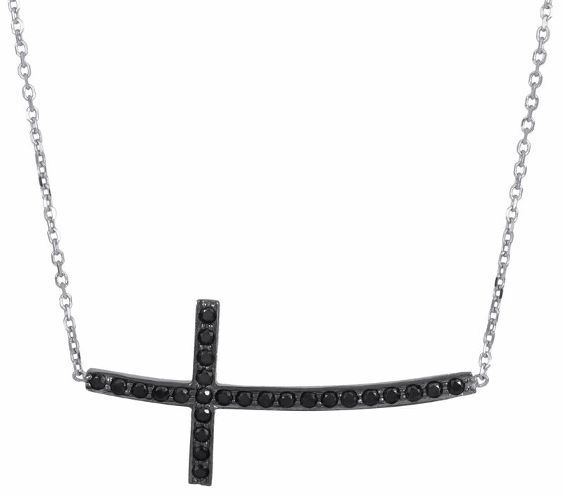 Κολιέ σταυρός με μαύρες πέτρες Κ14 016663 016663 Χρυσός 14 Καράτια