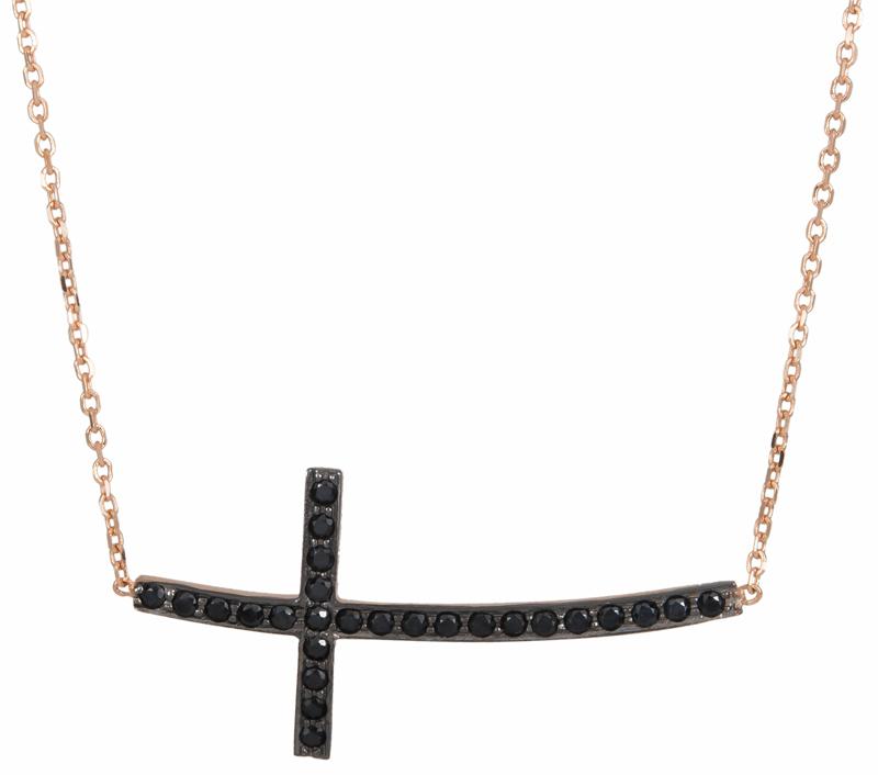 Ροζ gold σταυρός με πέτρες 016664 016664 Χρυσός 14 Καράτια χρυσά κοσμήματα κολιέ