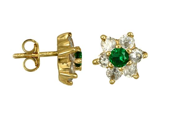 Χρυσές ροζέτες με πράσινη πέτρα Κ14 016689 016689 Χρυσός 14 Καράτια