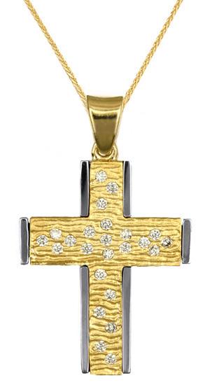 Βαπτιστικοί Σταυροί με Αλυσίδα ΒΑΠΤΙΣΤΙΚΟΣ ΣΤΑΥΡΟΣ ΓΙΑ ΚΟΡΙΤΣΙ 016724C Γυναικείο Χρυσός 14 Καράτια