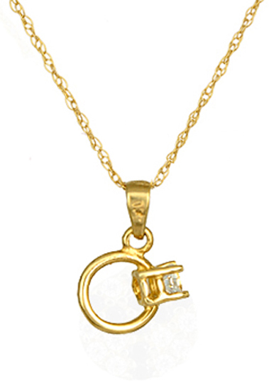 Κολιέ μονόπετρο 016757C Χρυσός 14 Καράτια