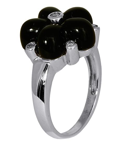 Δαχτυλίδι Κ18 με διαμάντια & όνυχα 016839 016839 Χρυσός 18 Καράτια χρυσά κοσμήματα δαχτυλίδια με μαργαριτάρια και διάφορες πέτρες