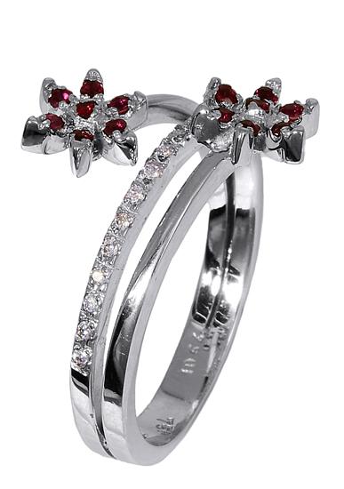 Δαχτυλίδι με ρουμπίνια και διαμάντια 016914 Χρυσός 18 Καράτια χρυσά κοσμήματα δαχτυλίδια με μαργαριτάρια και διάφορες πέτρες