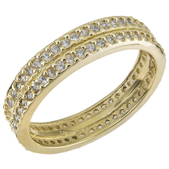 Χρυσό δαχτυλίδι βέρα Κ14 ολόπετρο 016941 016941 Χρυσός 14 Καράτια