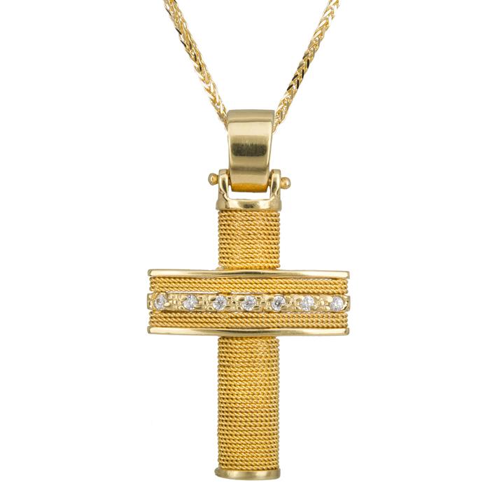 Βαπτιστικοί Σταυροί με Αλυσίδα Χρυσός Σταυρός Βάπτισης 017087C Γυναικείο Χρυσός 14 Καράτια