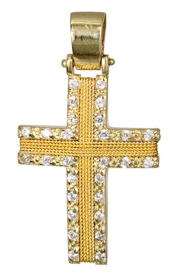Σταυροί Βάπτισης - Αρραβώνα Χρυσός Γυναικείος Σταυρός 017093 Γυναικείο Χρυσός 14 Καράτια
