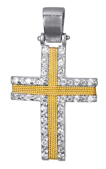 Σταυροί Βάπτισης - Αρραβώνα ΣΤΑΥΡΟΣ ΜΕ ΠΕΤΡΕΣ ΖΙΡΓΚΟΝ 017094 017094 Γυναικείο Χρυσός 14 Καράτια