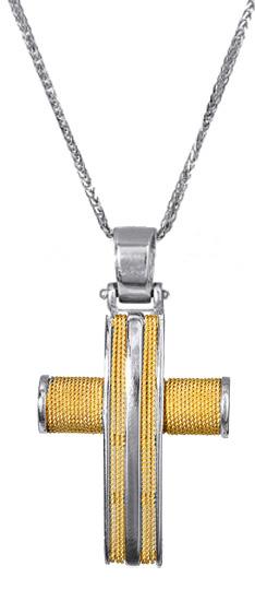 Βαπτιστικοί Σταυροί με Αλυσίδα ΣΤΑΥΡΟΣ ΧΡΥΣΟΣ ΜΕ ΛΕΥΚΟΧΡΥΣΟ 017103C Ανδρικό Χρυσός 14 Καράτια