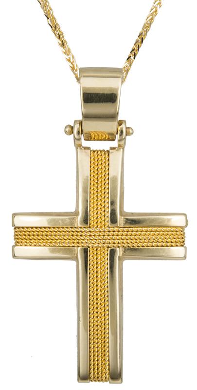 Βαπτιστικοί Σταυροί με Αλυσίδα Χρυσός χειροποίητος σταυρός Κ14 C017108 017108C Ανδρικό Χρυσός 14 Καράτια