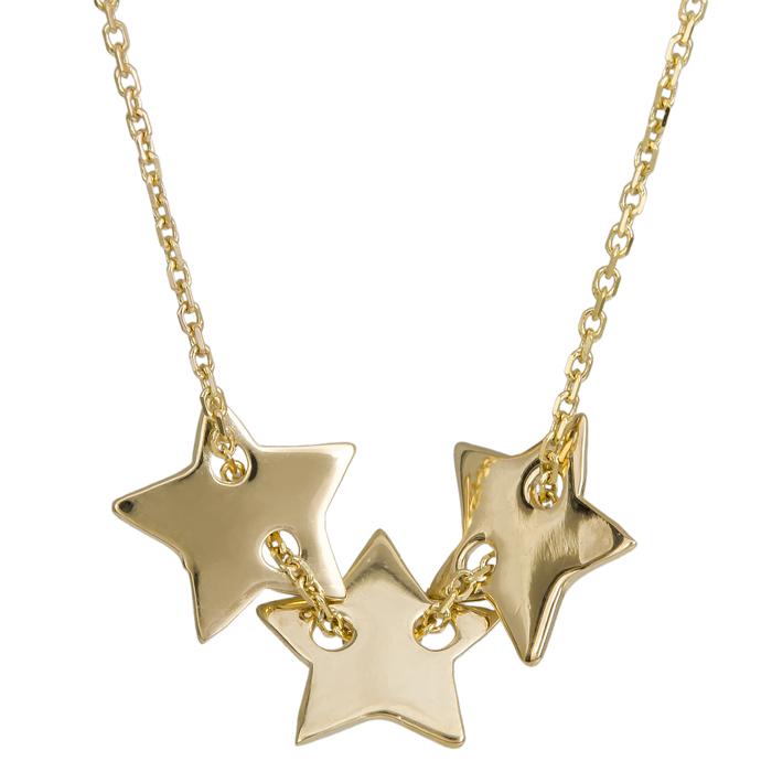 Κολιέ τρία αστέρια Κ14 017135 017135 Χρυσός 14 Καράτια