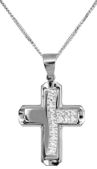 Βαπτιστικοί Σταυροί με Αλυσίδα Σταυρός βάπτισης 017203C Γυναικείο Χρυσός 14 Καράτια