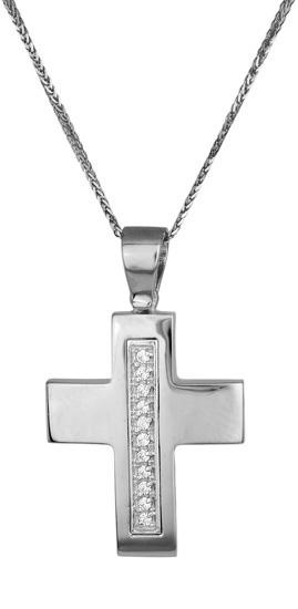 Βαπτιστικοί Σταυροί με Αλυσίδα Σταυρός γυναικείος 017204C Γυναικείο Χρυσός 14 Καράτια