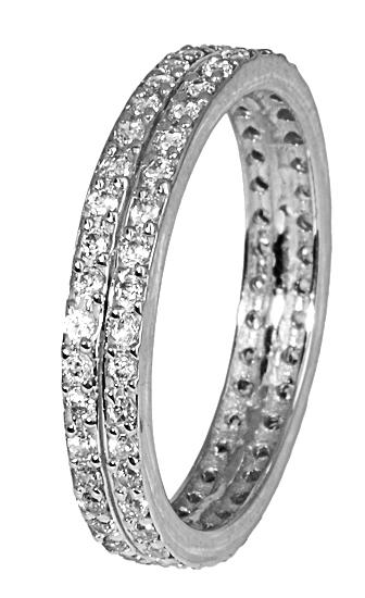 Λευκόχρυσο σειρέ δαχτυλίδι με πέτρες ζιργκόν 017280 Χρυσός 14 Καράτια