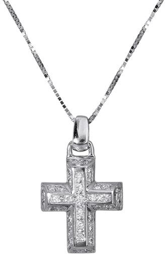 Βαπτιστικοί Σταυροί με Αλυσίδα Λευκόχρυσος σταυρός Κ18 με μπριγιάν 017309 Γυναικείο Χρυσός 18 Καράτια
