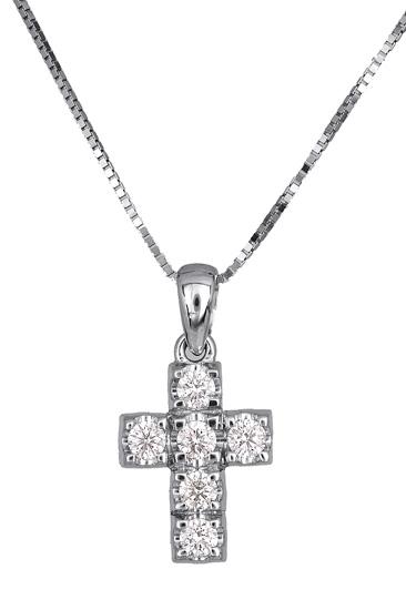 Γυναικείος σταυρός με μπριγιάν 017310 Χρυσός 18 Καράτια