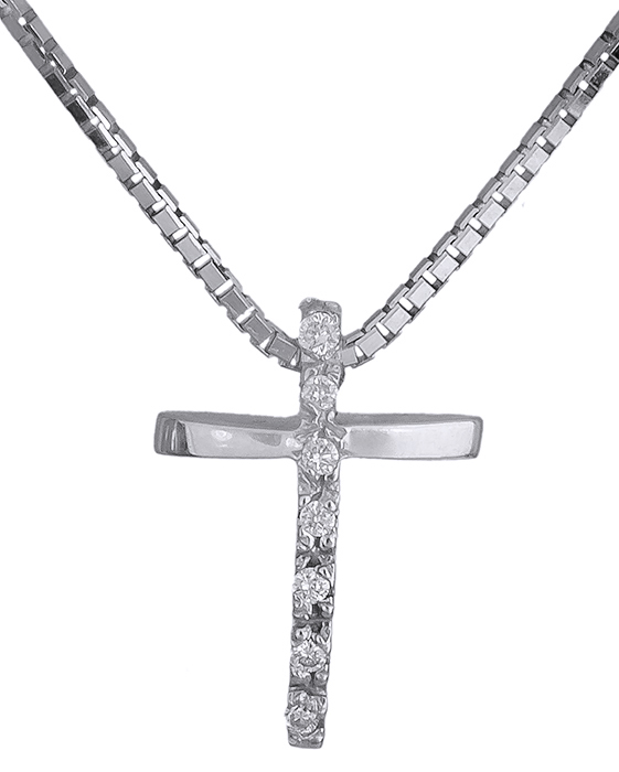 Σταυρός Κ18 με πολύτιμες πέτρες 017313 Χρυσός 18 Καράτια