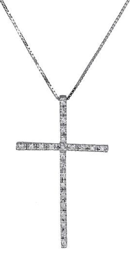 Βαπτιστικοί Σταυροί με Αλυσίδα Λευκόχρυσος σταυρός με διαμάντια 017316 Γυναικείο Χρυσός 18 Καράτια