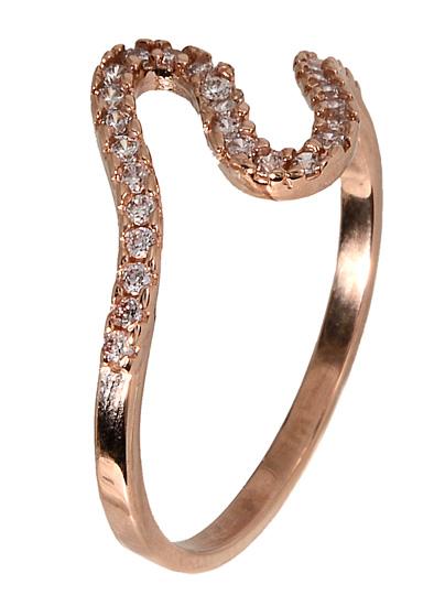 Γυναικείο δαχτυλίδι ροζ χρυσό 017346 Χρυσός 14 Καράτια χρυσά κοσμήματα δαχτυλίδια σειρέ ολόβερα