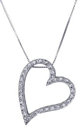 Λευκόχρυση καρδιά κολιέ 017365 Χρυσός 14 Καράτια