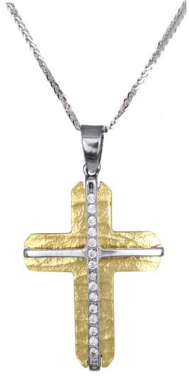 Βαπτιστικοί Σταυροί με Αλυσίδα Χρυσός σταυρός με αλυσίδα για γυναίκα 017372C Γυν σταυροί βάπτισης   γάμου βαπτιστικοί σταυροί με αλυσίδα
