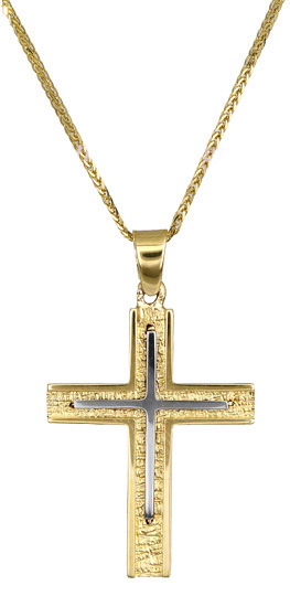 Βαπτιστικοί Σταυροί με Αλυσίδα Χρυσός σταυρός c017374 017374C Ανδρικό Χρυσός 14 Καράτια