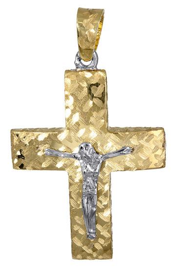 Σταυροί Βάπτισης - Αρραβώνα Χρυσός ανδρικός σταυρός διπλής όψης 017380 017380 Ανδρικό Χρυσός 14 Καράτια
