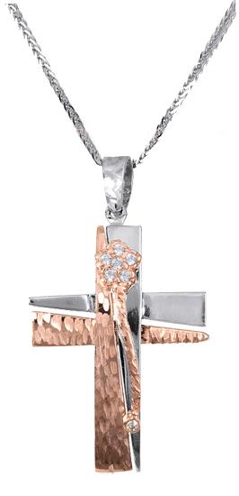 Βαπτιστικοί Σταυροί με Αλυσίδα Σταυρός βάπτισης με αλυσίδα c017382 017382C Γυναικείο Χρυσός 14 Καράτια