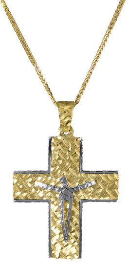 Βαπτιστικοί Σταυροί με Αλυσίδα Χρυσός ανδρικός σταυρός με αλυσίδα c017386 017386C Ανδρικό Χρυσός 14 Καράτια