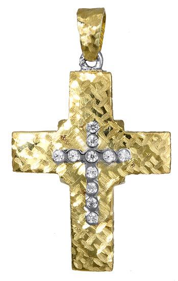 Σταυροί Βάπτισης - Αρραβώνα Γυναικείος σταυρός διπλής όψης 017388 017388 Γυναικείο Χρυσός 14 Καράτια