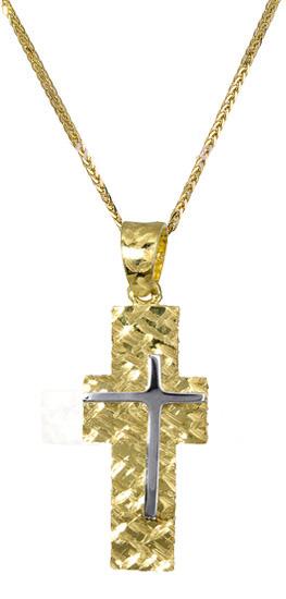 Βαπτιστικοί Σταυροί με Αλυσίδα Ανδρικός σταυρός c017394 017394C Ανδρικό Χρυσός 14 Καράτια