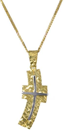 Βαπτιστικοί Σταυροί με Αλυσίδα Χρυσός σταυρός με αλυσίδα 017395C Ανδρικό Χρυσός 14 Καράτια